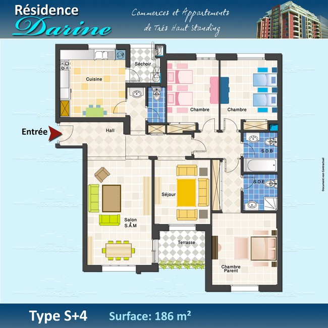 plan appartement s+4 tunisie